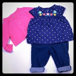 Other - 3 piece spring set 🌸 shirt, sweater, jeans 3 m